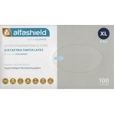 ALFASHIELD ΓΑΝΤΙΑ LATEX ΧΩΡΙΣ ΠΟΥΔΡΑ (XL) 100ΤΕΜ