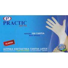 Practic super plus Γάντια εξεταστικά latex ελαφρά πουδραρισμένα 100 τεμ.  extra large