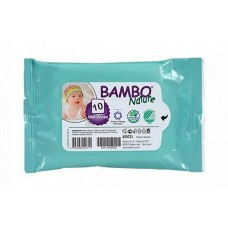 BAMBO NATURE 10 wet wipes 100% biodegradable (Βιοδασπώμενα υγρά μαντηλάκια)